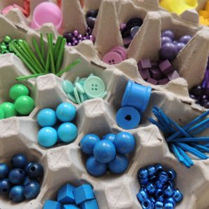 Multicoloured Small Loose Parts In Egg Cartons