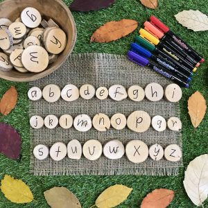 Alphabet Wooden Discs With Teachables Markers And leaf Border On Grass