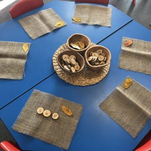 Alphabet Words With Wooden Discs Activity Hessian Place Mats On Blue Desk