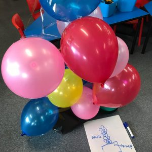 Balloon Tower Planning Marker And Paper draft With Balloons Tapped