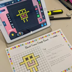 Bloxels Maths Activity On Desktop With Activity Sheet