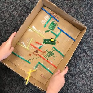 Marble Maze Testing Cardboard Track With Straw Borders