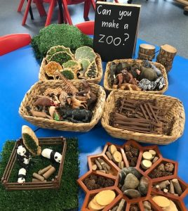 Natural Resources And Figurines In Baskets And The Flower Tray