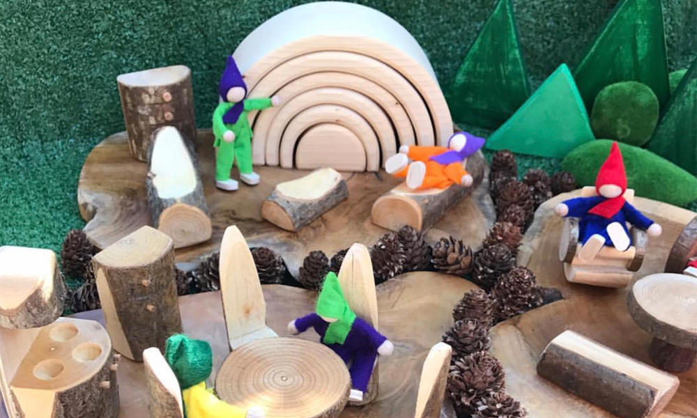 Natural Resources World With Figurines Pine Cones And Furniture