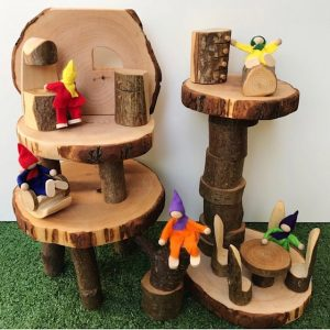 Natural Tree Block House With Fabric Figurines