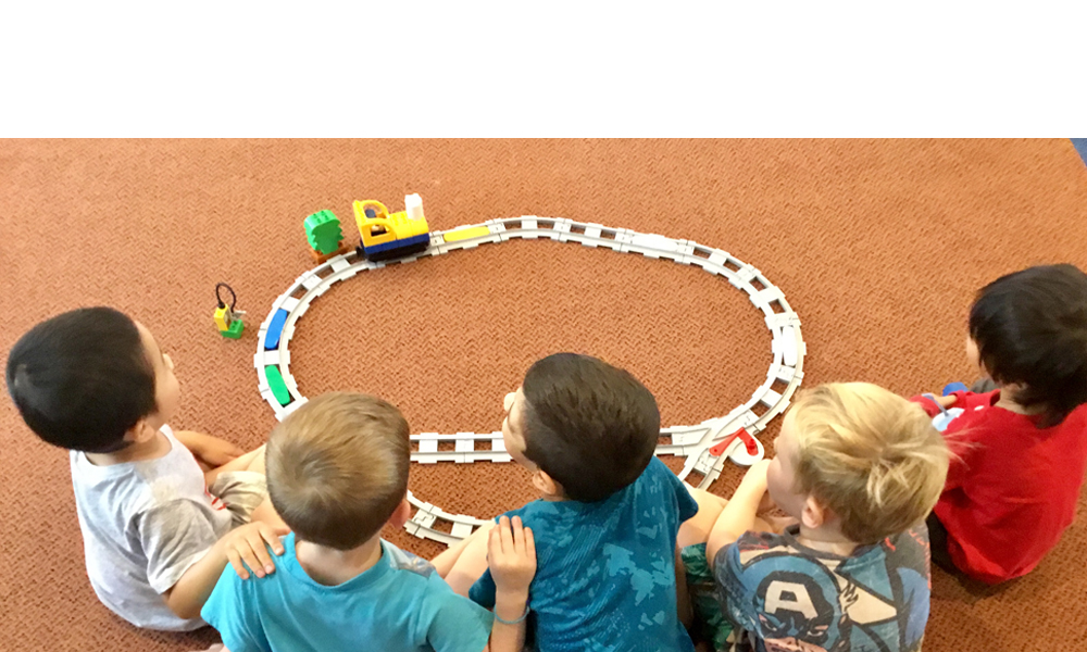 Coding Express Train Activity Children Sitting On Floor