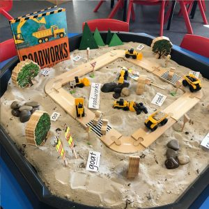 Roadworks Active World Tray Activity Wooden Track On Sand With Tractors