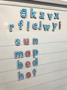 Word Building Magnetic Letters On Whiteboard