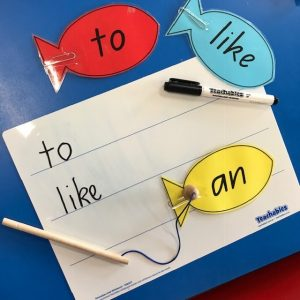 Writing Literacy Game With Paperclip Word Fish And Fishing Rods