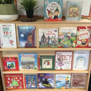 Christmas Books On Shelf Displayed Upright Front Facing