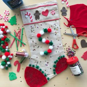 Christmas Stocking Art Craft Activity Complete On Beige Desktop