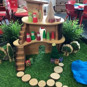 Wooden Christmas Tree house Wide With Figurines