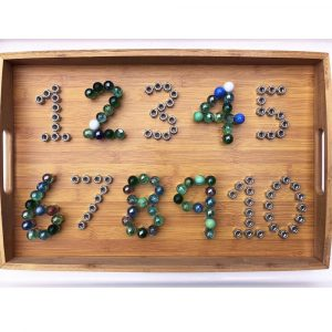 STEM Numbers In Wooden Tray Made From Marbles And Screws