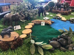 Natural Resources Jungle Scene With Elephant Figurines