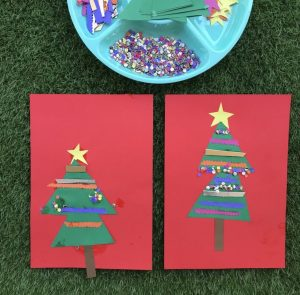 Christmas Card Making Craft Activity Two Decorated Cards