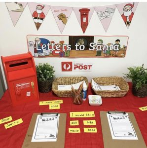 Christmas Letters To Santa With Red Post Box On Christmas Table